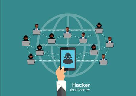 The hacker community, hacker network computers. around the world illustration Ilustrace