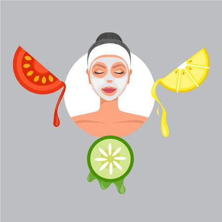Cura della pelle della maschera per il viso dei cartoni animati. Spa Beauty con frutta limone pomodori e cetriolo .illustration Vettoriali