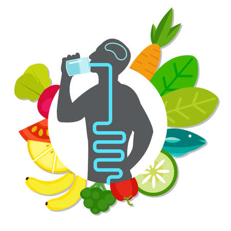 man body with healthy food, people choosing healthy lifestyle Illustration on a white background