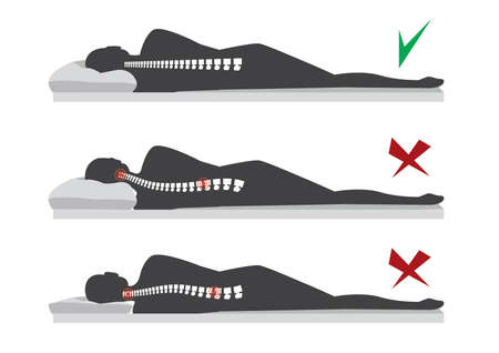 Best and worst positions for sleeping pregnant women, illustration Stok Fotoğraf - 110539593
