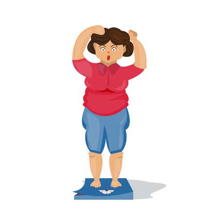 Fette Frau, die auf Skalen steht. Karikatur. auf weißem Hintergrund.