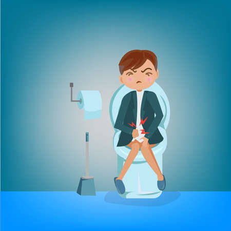 businessman constipation symptom and poop in intestine.illustrator Illustration