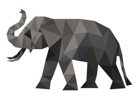 Polygon illustration of elephant, triangle design