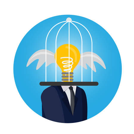 the light bulb in cage not think and not freedom concept Ilustrace