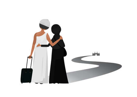 two muslim traveling to mosque in Middle East for Mecca as a pilgrim. Ilustrace
