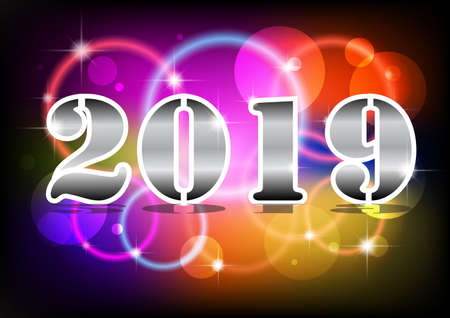 2019 Happy New Year Neon Text. 2019 New Year Design template for Seasonal Flyers Ilustrace