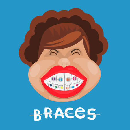 Funny girl with braces. dental medicine and health, dentistry.on blue background