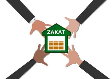 business hand donation to Zakat home on white background