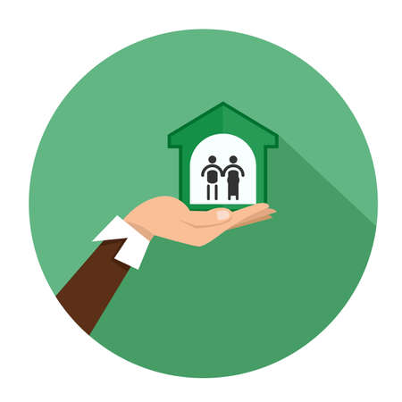 hand carefully holding house. Love your family home.planing buy home Illustration