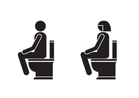 Sign and symbol of toilet , poster, sticker vector. The man with woman on the toilet. Ilustrace