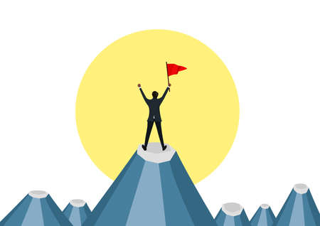 Businessman holding red flag and standing on the top of the moutain under the sun. illustrator
