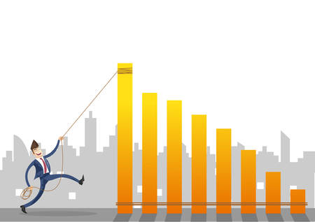 Businessman pulling yellow graph with a rope concept on city background