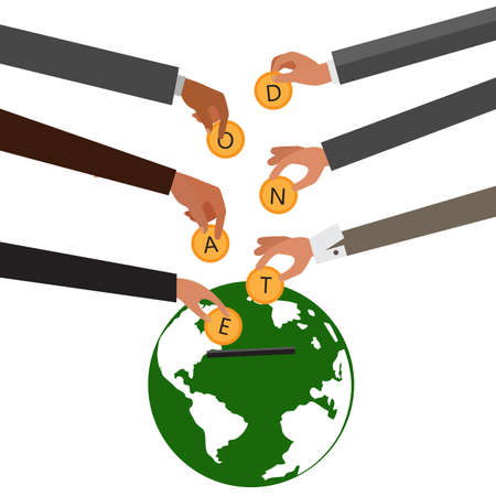 Hands throws gold coins in world bank for donations.Donate, giving money concept.  illustration