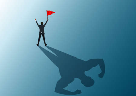 human holding red flag to success with shadow man strong illustrator.