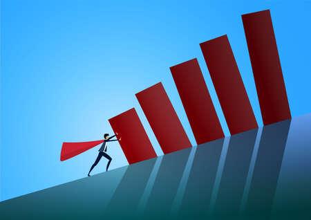 Hiro uomo che spinge il grafico sulla collina. Simbolo di difficoltà, ambizione, motivazione, lotta. illustrazione