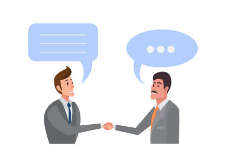 Two businessmen shake their hands. illustration. Business handshake.