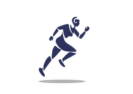 Man sprint running flat icon