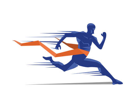 Man sprint running to win design.