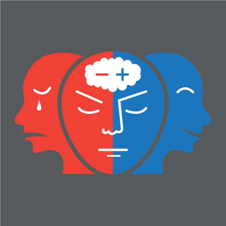 Head icon for bipolar disorder flat design.on gray background illustration