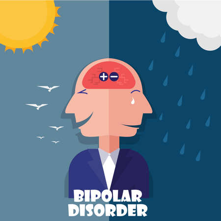 business Head  for bipolar disorder flat design. illustration