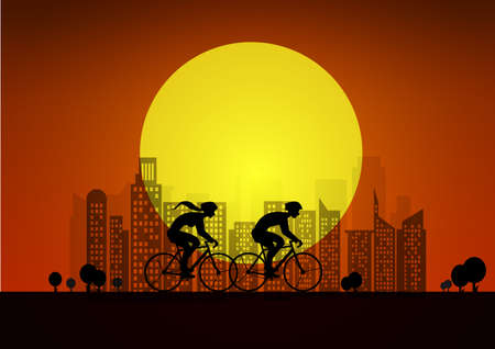 Couple on bikes in city. illustration with silhouettes of of two cyclists . sunset background