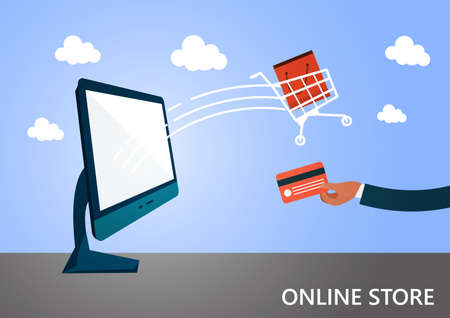 online shopping and e-commerce. Buy, sale, payment and delivery of product, credit card, laptop.