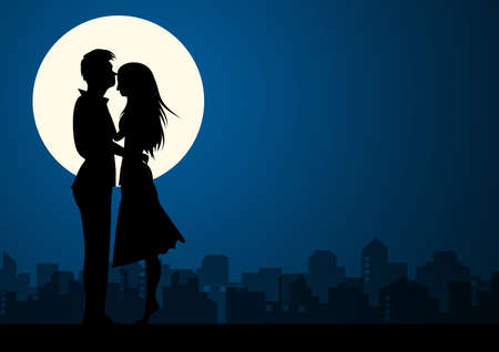 Happy Valentines Day illustration. Romantic silhouette of loving couple at night. Vector illustration
