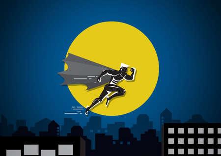 Empresario de superhéroe corriendo para saltar sobre el edificio entre dos acantilados en el fondo de la ciudad Ilustración de vector