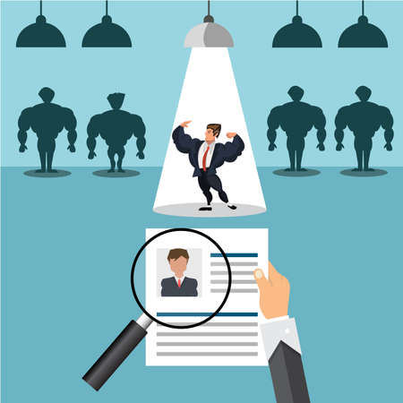 head hunter job with magnifying glass. HR illustration in flat style. Ilustrace
