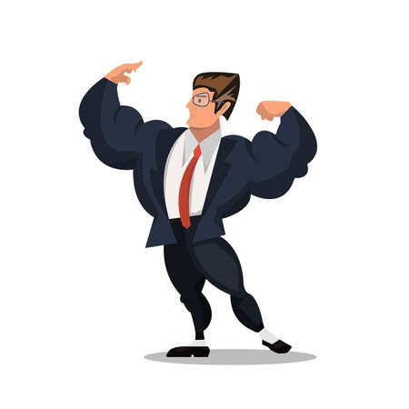 business man pose  cartoon isolated on a white background