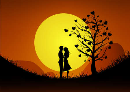 Happy Valentines Day illustration. Romantic silhouette of loving couple at mountain on sunset background. illustration Ilustrace