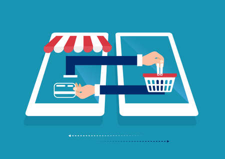 laptop smart phone online shopping concept. Online store, shopping cart icon. Ecommerce. illustration Ilustrace