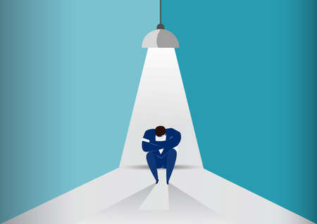 businessman sit sad under Light bulb,fail business concept Ilustrace