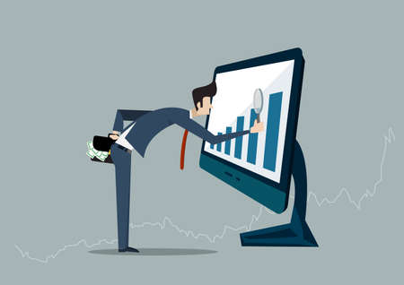 Businessman looking for investment opportunity standing on growth graph. Profit Stock Market. on laptop computer Ilustrace