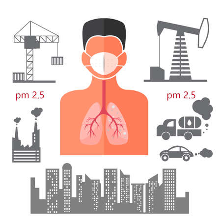 humand body danger for lung effect from pm 2.5 info icons illustrator.
