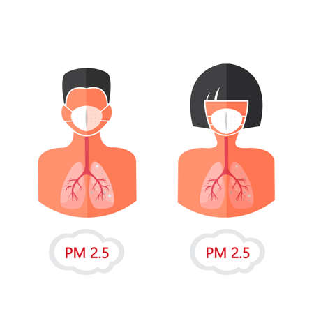 mask pm 2.5 protection with man and woman face . pollution air Ilustrace