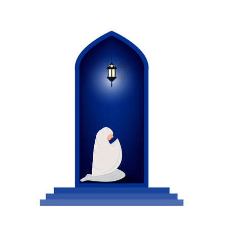 muslim woman prayer at night background