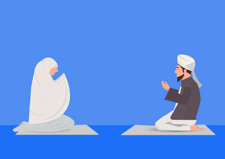 muslim man and woman prayer blue background. Ilustrace