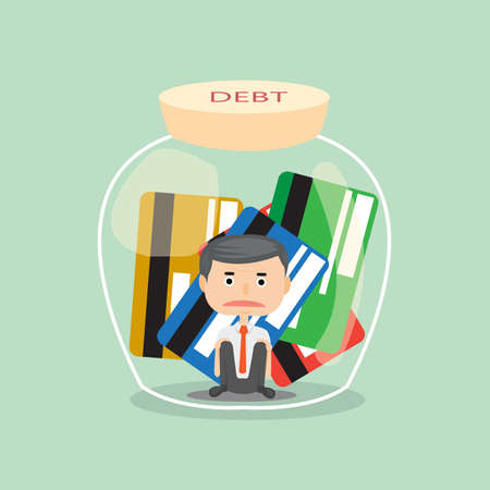 businessman stress with him debt and trap credit card in bottle concept illustrator. Ilustrace