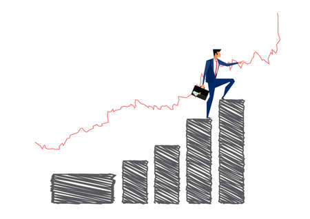 Businessman standing on the arrow for look stock market growth