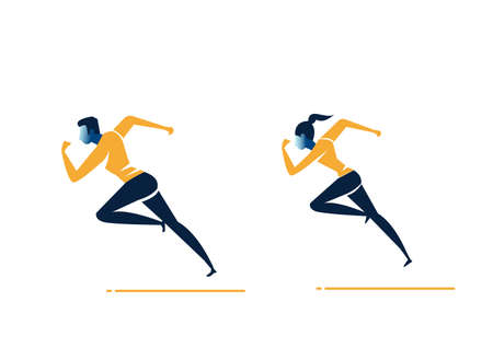 boy and girl sprint running symbol design. on white background illustration