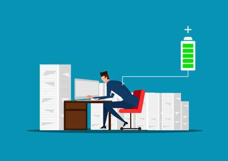 homme d'affaires ou gestionnaire assis près de la pile de documents. pleine d'énergie pour travailler. batterie chargée. illustration