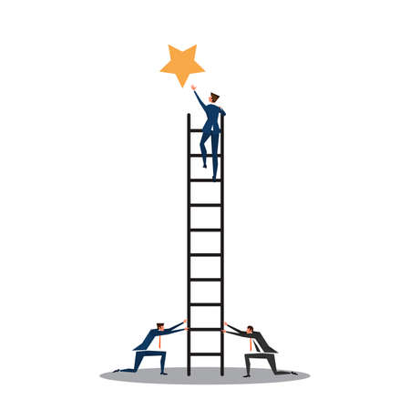 business man stair for take stare to sucsess team work  concept.illustrator