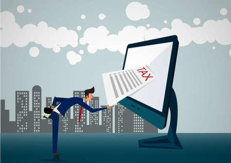 Dos empresario levantando ilustrador de impuestos de peso pesado Ilustración de vector
