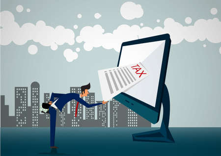 two Businessman lifting heavy weight tax illustrator Vector Illustration