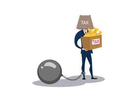 business man holding box tax for pay full amount of taxes, Vector flat style cartoon illustration. Ilustrace