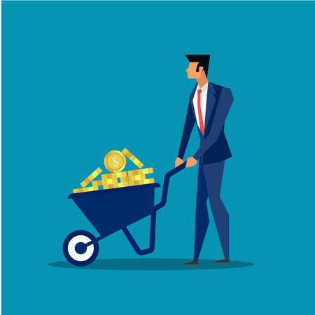 Businessman pushing wheelbarrow in profit business concept.illustrator