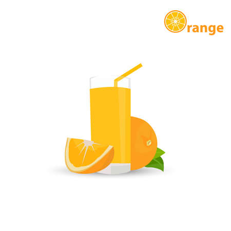 range juice. A glass with a jug of orange juice. Orange. Flat design, illustration,