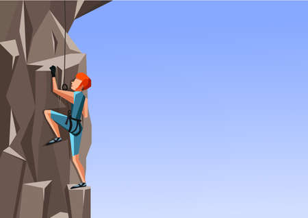 Cartoon illustration of a man climbing the rock on blue background. Ilustrace
