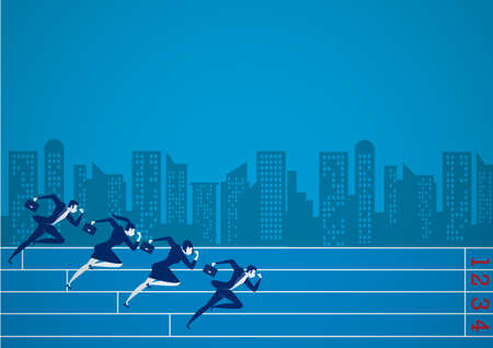 Businessmen running at business competition for goal them. on city background illustrator.